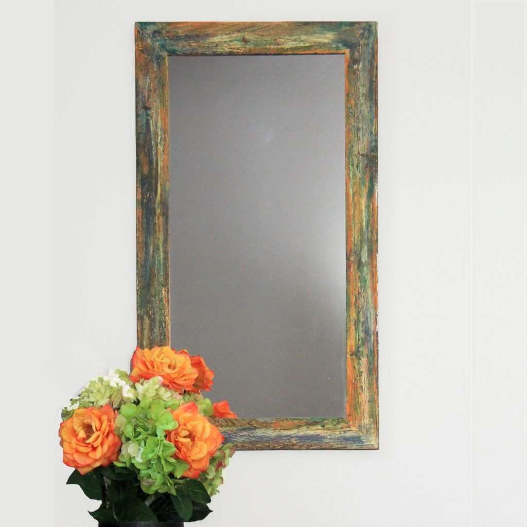 Fresco Painted Barnwood Mirror