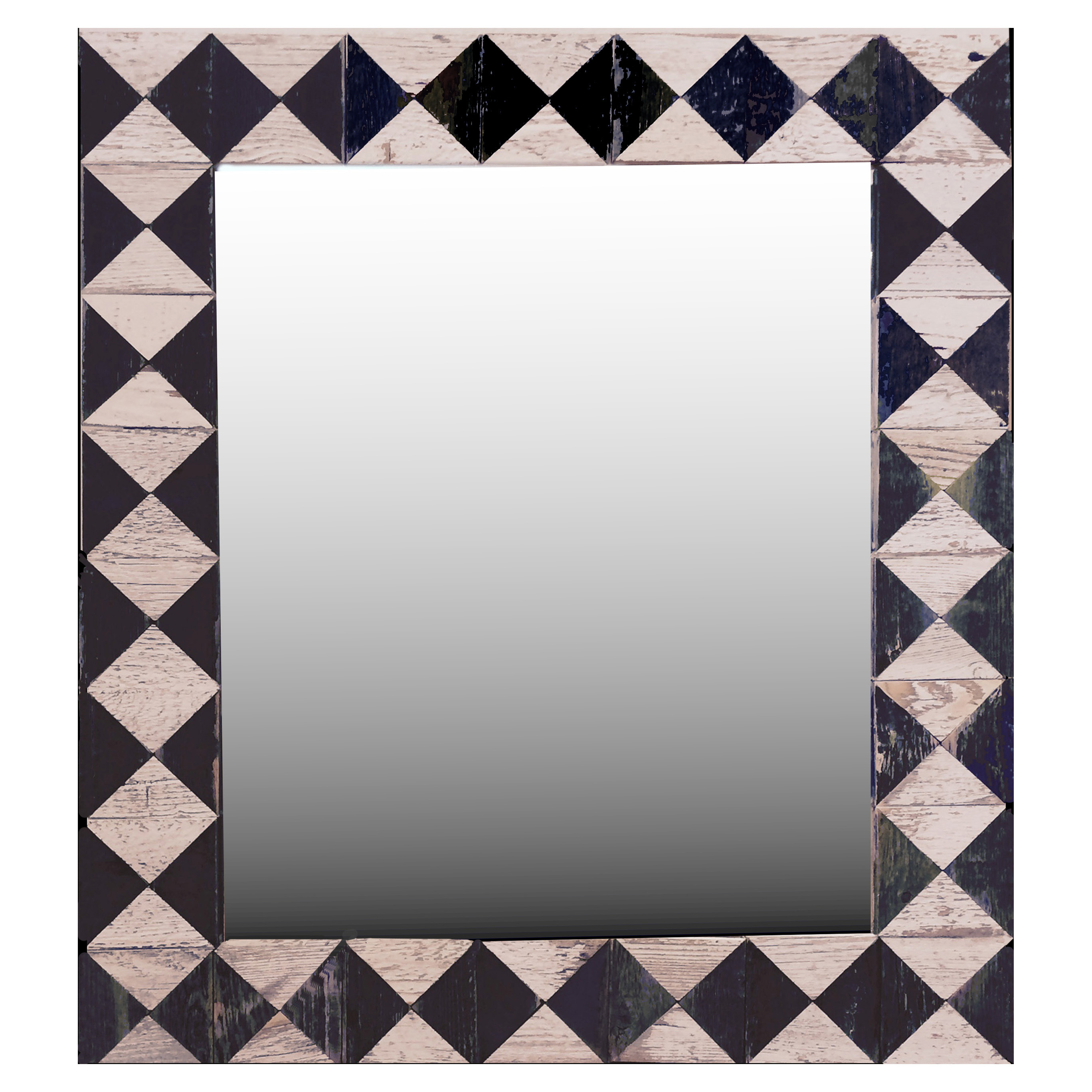 Black & White Diamond Pattern Barnwood Mirror