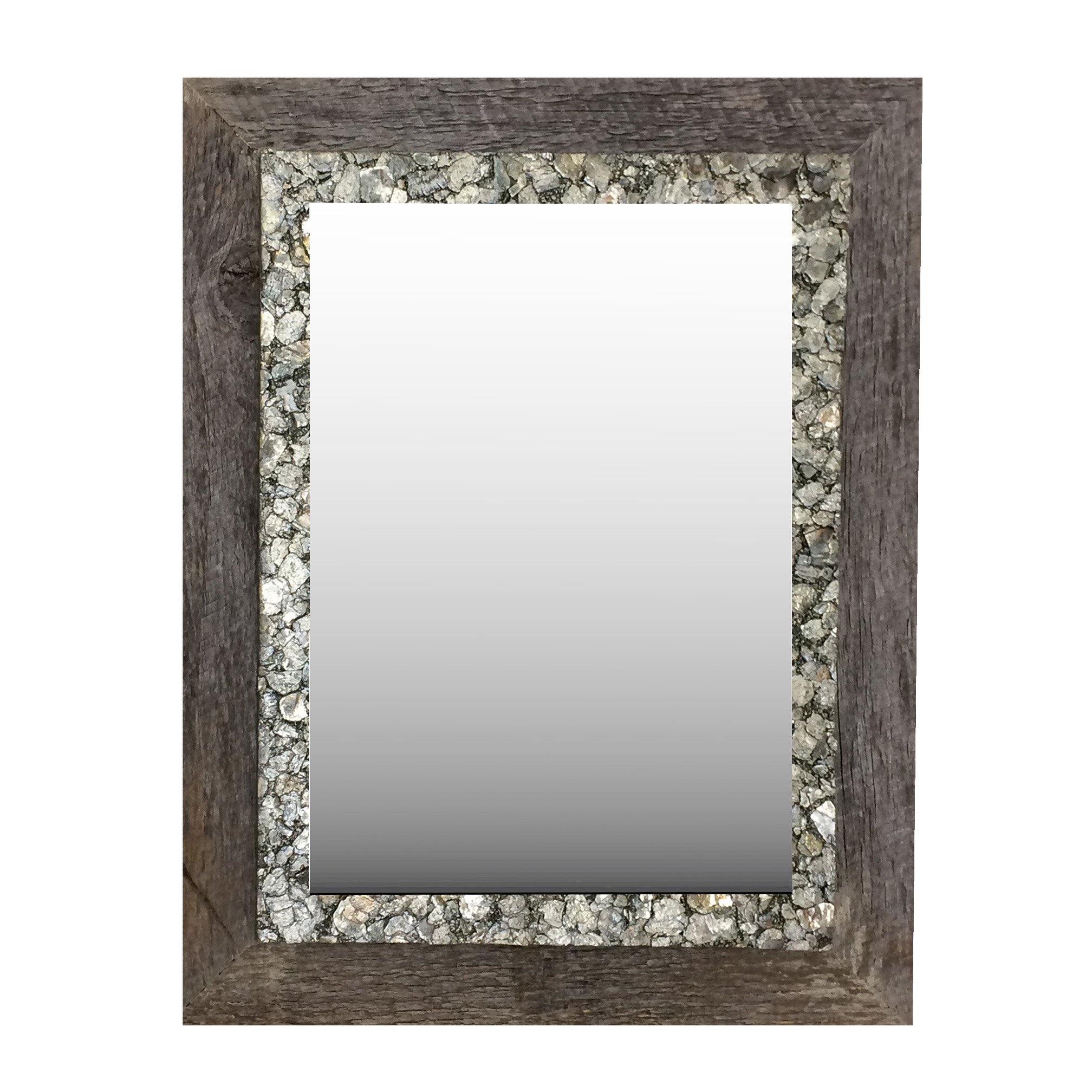 Barnwood Mirror with Rock Border