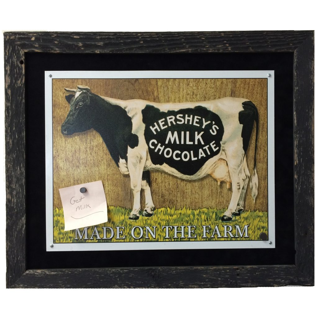 Vintage Barnwood Magnet Board with Cow Image