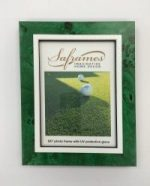Green burl wood photo frame with golf ball textured inner border