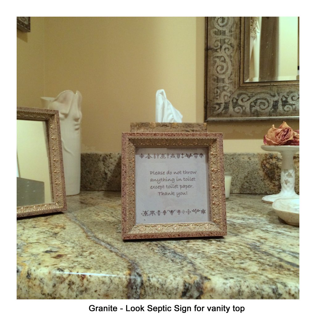Granite-look Vanity Top Septic Sign