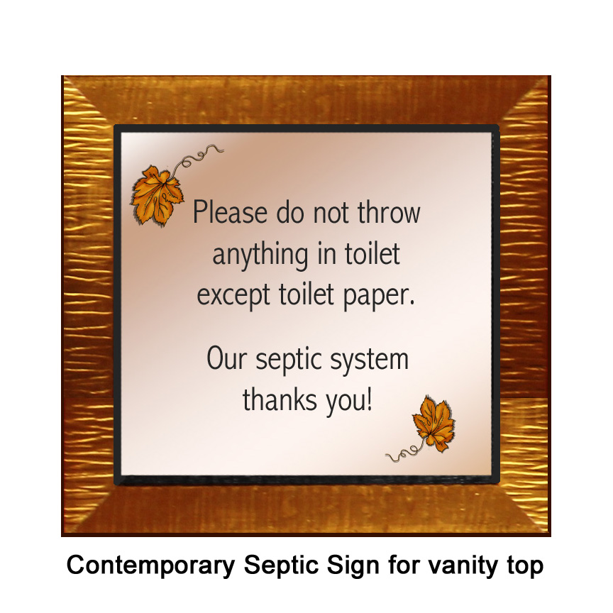 contemporary copper septic sign for vanity top