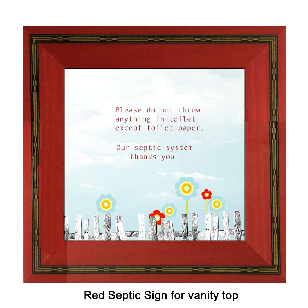 Red marquetry septic sign